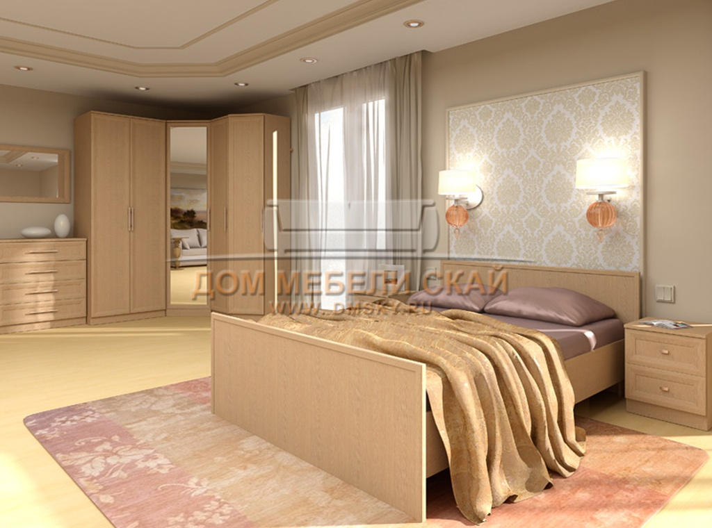 Спальня со светлой мебелью фото
