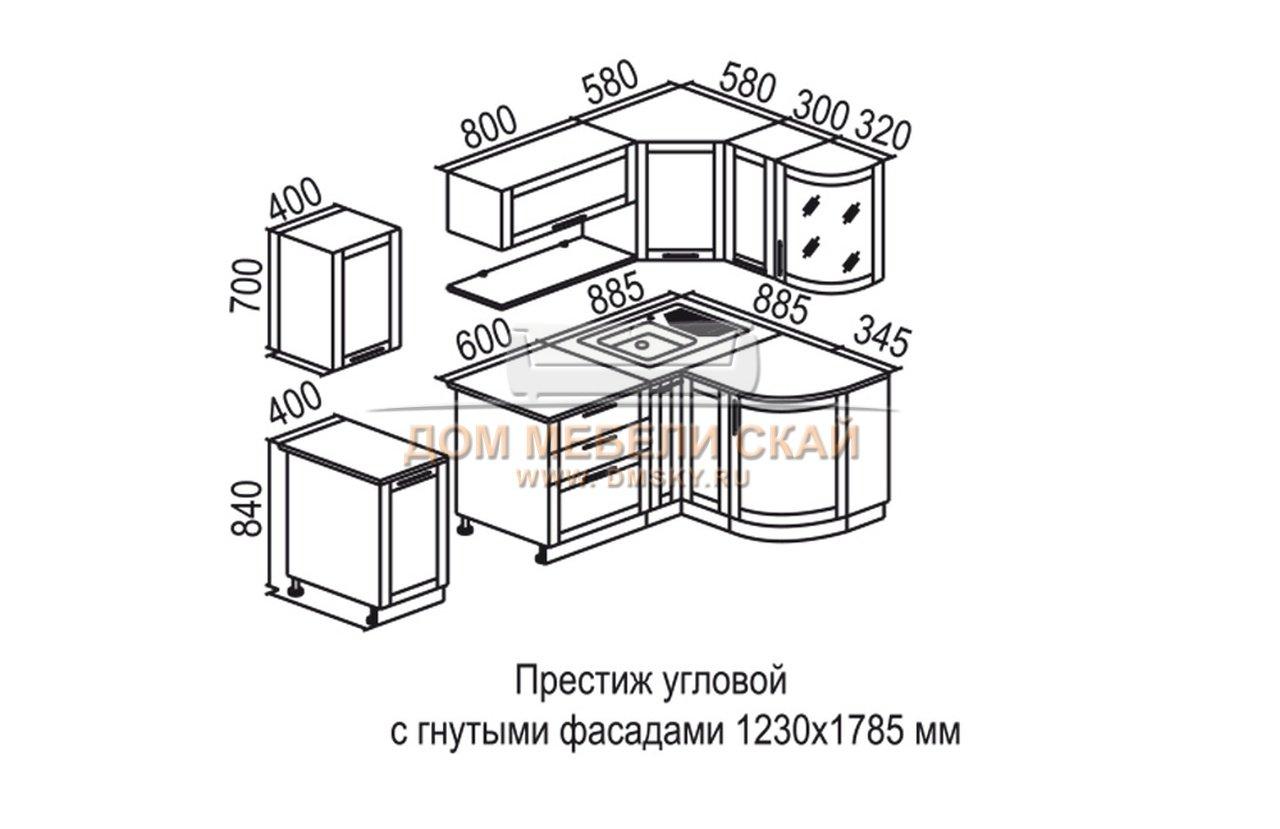 Схема чертеж встроенной кухни