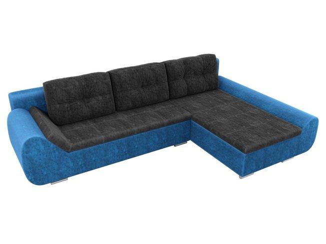 Угловой диван-кровать правый Анталина, черный/голубой/велюр фото