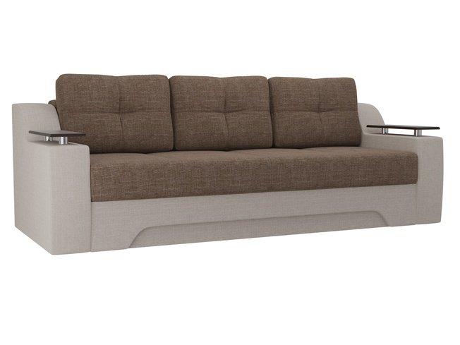 Диван-кровать Сенатор, коричневый/бежевый/рогожка фото