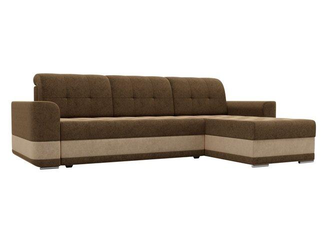 Угловой диван-кровать правый Честер, коричневый/микровельвет фото