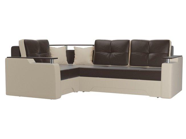 Угловой диван-кровать левый Комфорт, коричневый/бежевый/экокожа фото