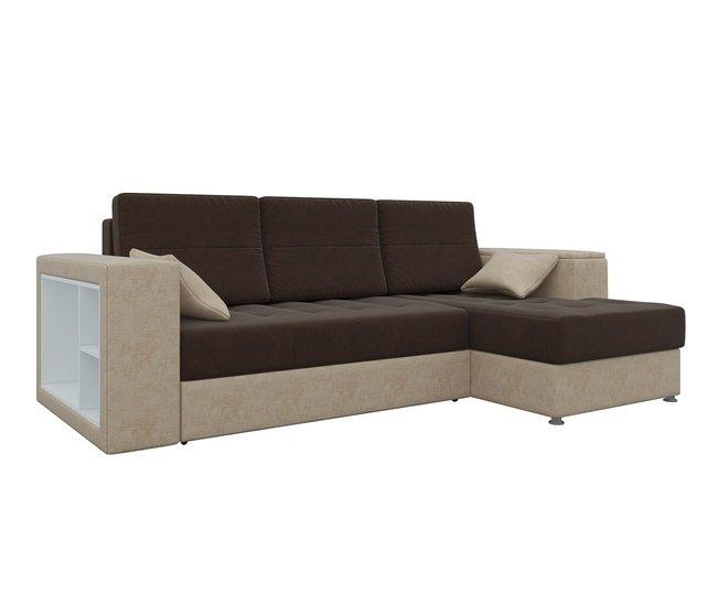 Угловой диван-кровать правый Атлантис, коричневый/бежевый/микровельвет фото