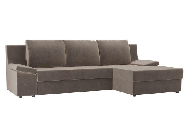 Угловой диван-кровать правый Челси, коричневый/велюр фото