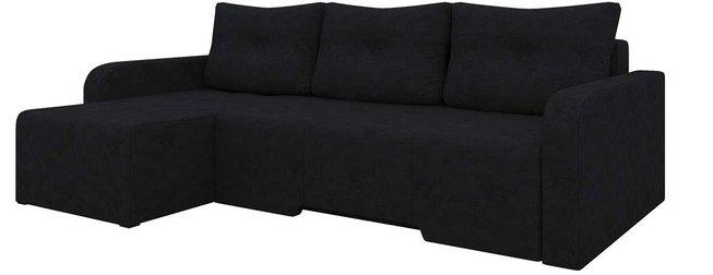 Угловой диван-кровать левый Манхеттен, черный/микровельвет фото