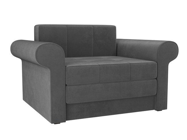 Кресло-кровать Берли, серое/велюр фото