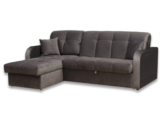 МК Ева / Угловой диван-аккордеон Амиго с ящиком 1450 БНП, серый велюр