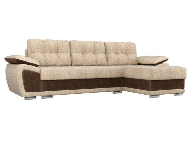 Угловой диван-кровать правый Нэстор, бежевый/коричневый/велюр фото