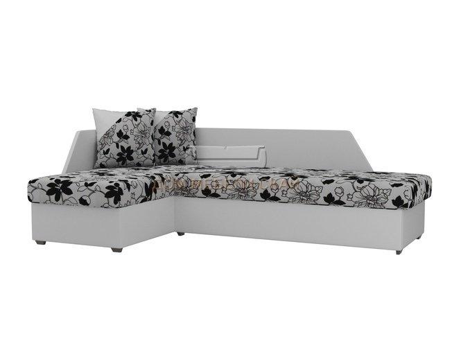 Угловой диван-кровать левый Андора, цветы/белый/флок на рогожке/экокожа - купить за 20200 руб. в Москве (арт. B10025809) | Дом мебели Скай