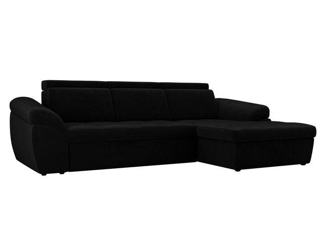 Угловой диван-кровать правый Мисандра, черный/велюр фото