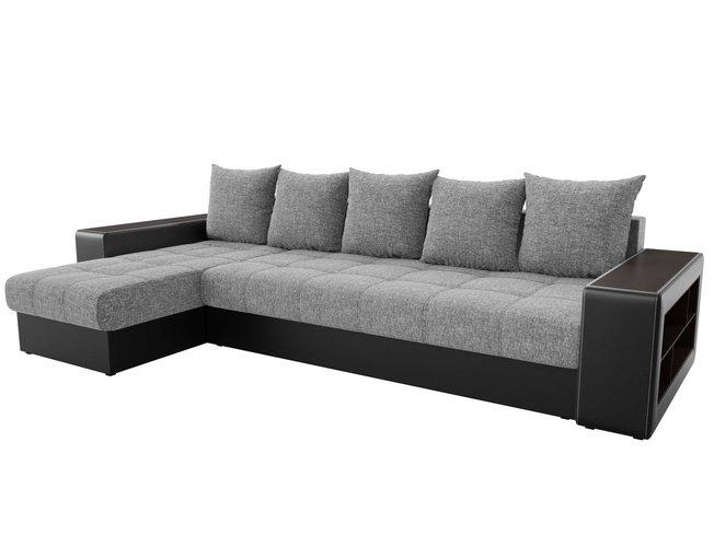 Угловой диван-кровать левый Дубай, серый/черный/рогожка фото