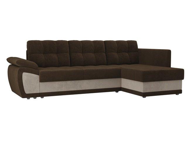 Угловой диван-кровать правый Нэстор прайм, коричневый/бежевый/велюр фото