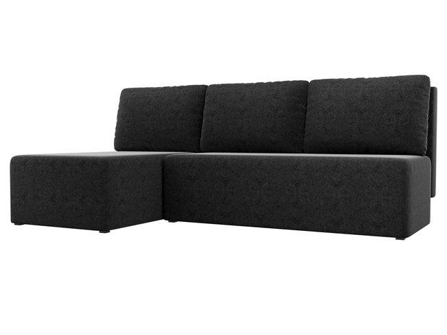 Угловой диван-кровать левый Поло, черный/микровельвет фото