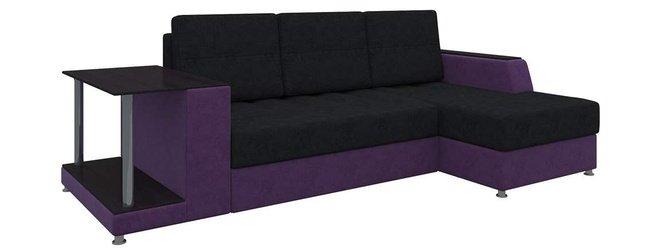Угловой диван-кровать правый Атланта, черный/фиолетовый/микровельвет фото