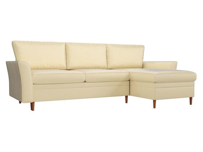 Угловой диван-кровать правый София, бежевый/экокожа фото
