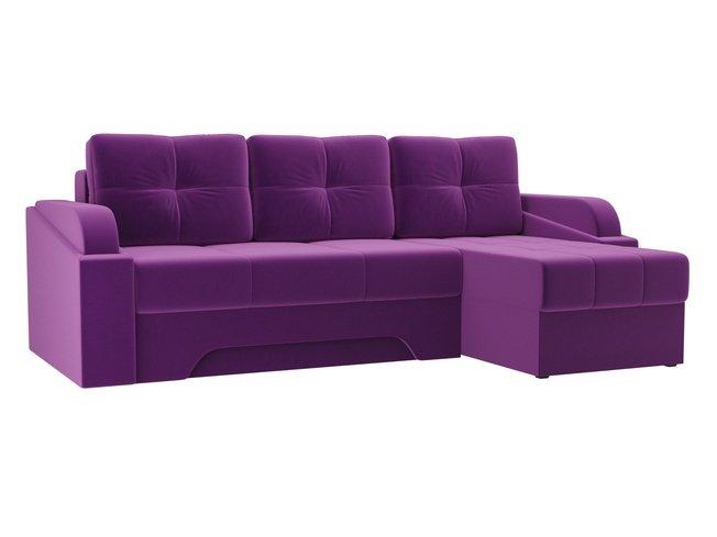 Угловой диван-кровать правый Панда, фиолетовый/микровельвет фото