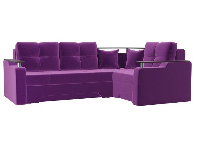 Угловой диван-кровать правый Комфорт, фиолетовый/микровельвет фото