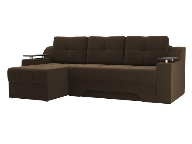 Угловой диван-кровать левый Сенатор, коричневый/микровельвет фото