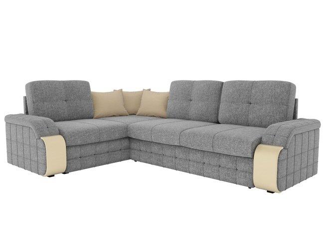 Угловой диван-кровать левый Николь, серый/бежевый/рогожка фото