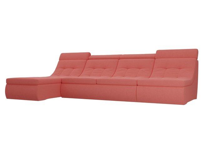 Угловой модульный диван-кровать левый Холидей Люкс, зеленый/микровельвет фото