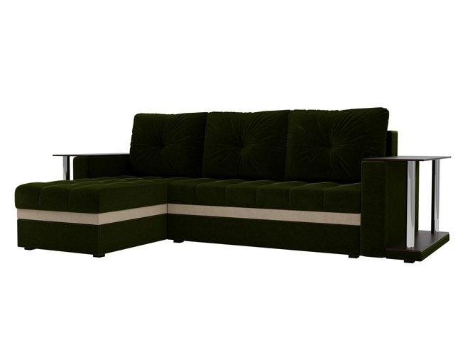 Угловой диван-кровать левый Атланта М 2 стола, зеленый/микровельвет фото