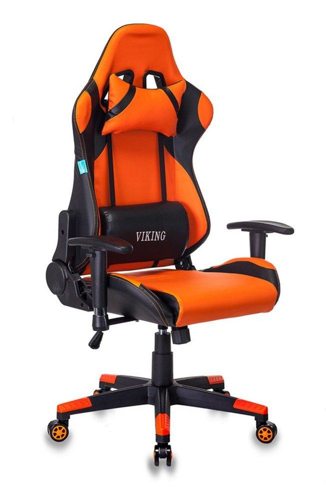 Кресло игровое CH-778N, оранжевая экокожа/черные вставки фото