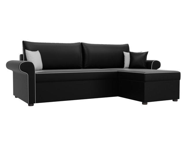 Угловой диван-кровать правый Милфорд, черный/экокожа фото