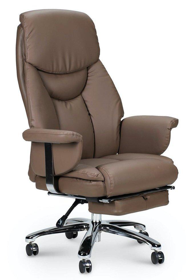 Кресло офисное Парламент, grey-brown/сталь/хром/серо коричневый экокожа фото