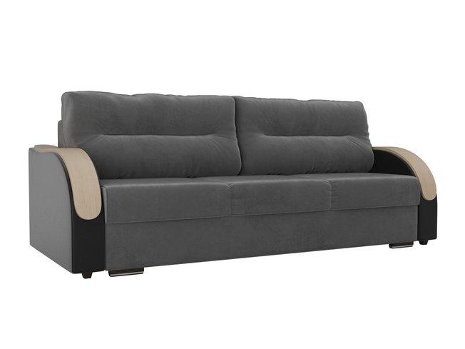 Диван-кровать Дарси, серый/черный/велюр/экокожа фото