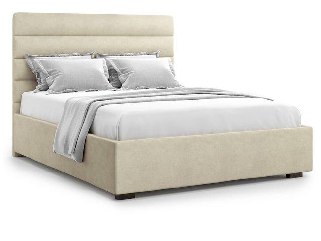 Кровать 1400 Karezza с подъемным механизмом, бежевый велюр velutto 17 фото