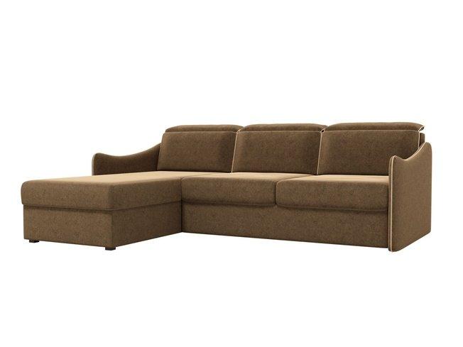 Угловой диван-кровать левый Скарлетт, коричневый/микровельвет фото