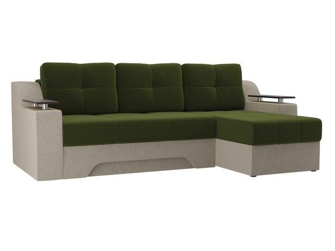 Угловой диван-кровать правый Сенатор, зеленый/бежевый/микровельвет фото