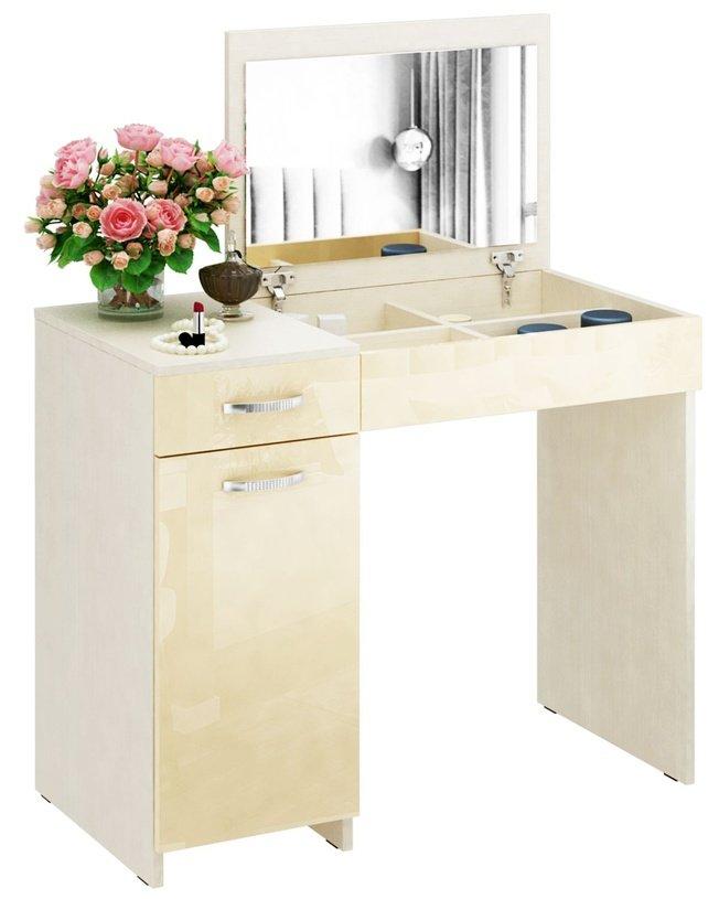 Туалетный столик Риано-03 глянец, дуб молочный/бежевый фото