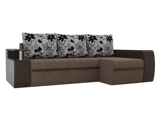 Угловой диван-кровать правый Майами, коричневый/коричневый/цветы/рогожка/экокожа/флок на рогожке фото