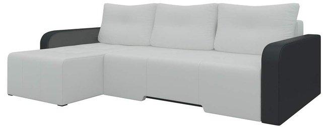 Угловой диван-кровать левый Манхеттен, белый/черный/экокожа фото