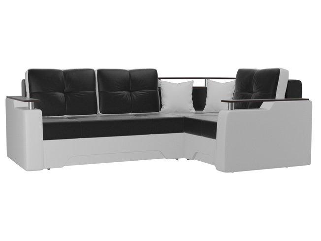 Угловой диван-кровать правый Комфорт, черный/белый/экокожа фото