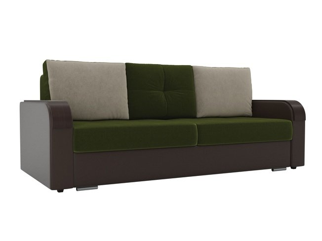 Диван-кровать Мейсон, зеленый/коричневый/микровельвет/экокожа фото