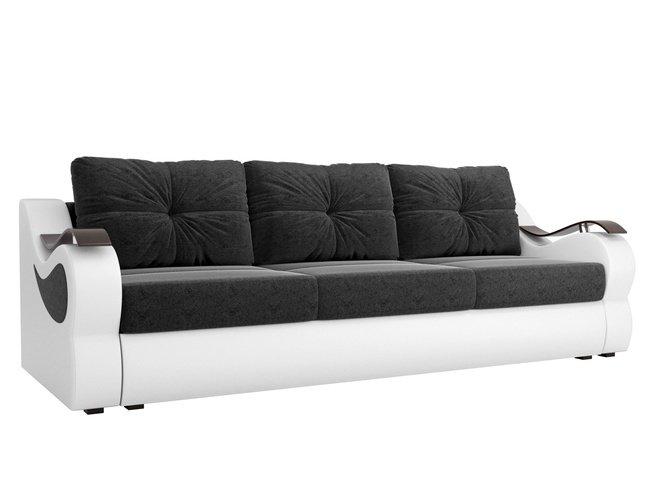 Диван-кровать Меркурий еврокнижка, черный/белый/микровельвет/экокожа фото