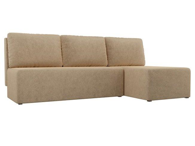 Угловой диван-кровать правый Поло, бежевый/микровельвет фото