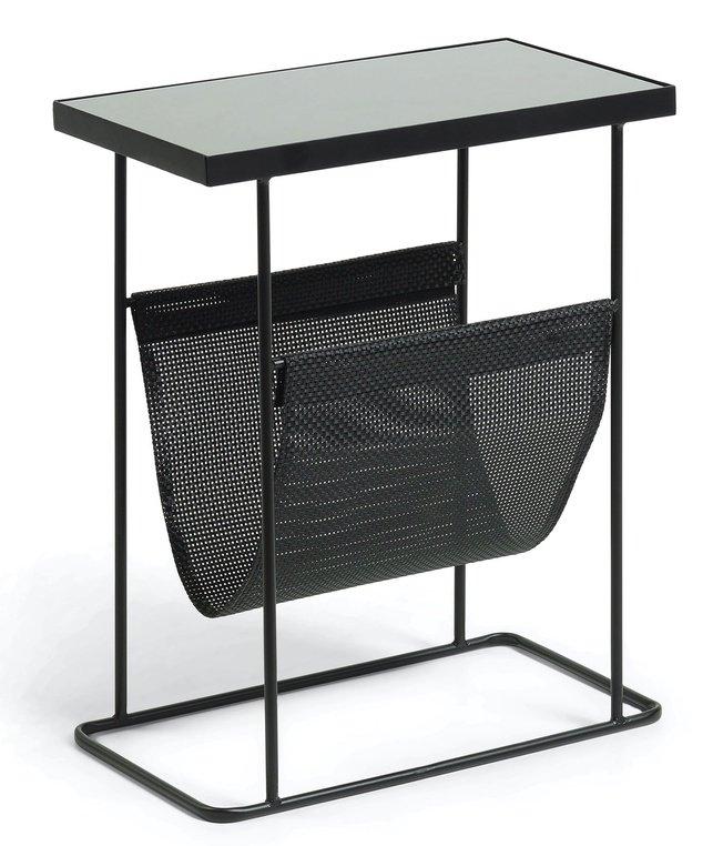 Журнальный столик VOGUE металлический с газетницей, черный/стекло черное CC0783R01 фото