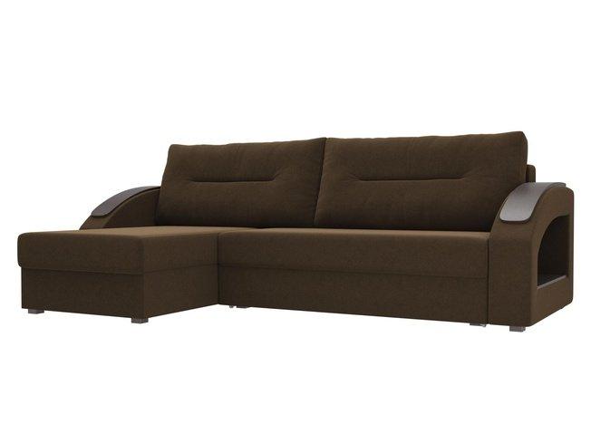 Угловой диван-кровать левый Канзас, коричневый/микровельвет фото