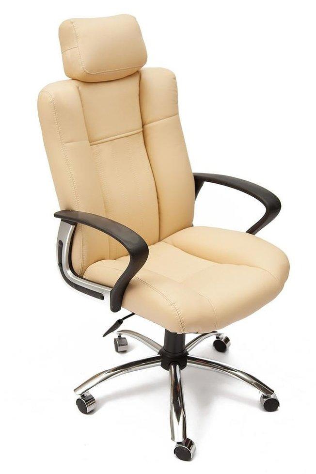Кресло офисное Оксфорд Oxford хром, бежевая экокожа фото