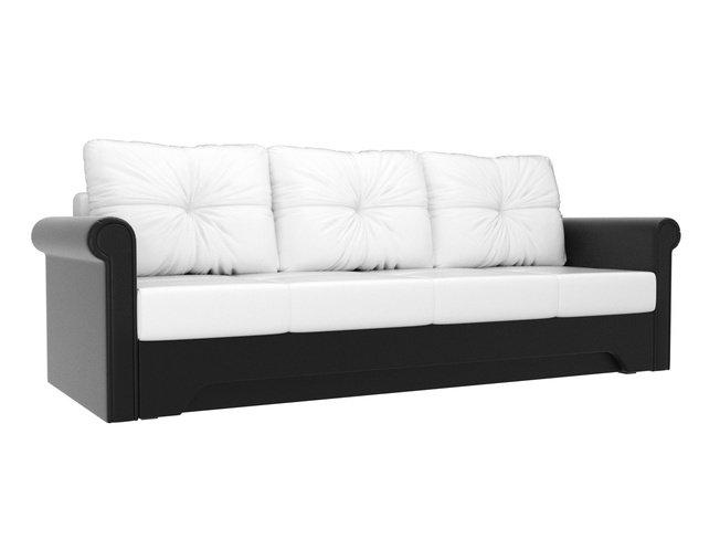 Диван-кровать Европа, белый/черный/экокожа фото