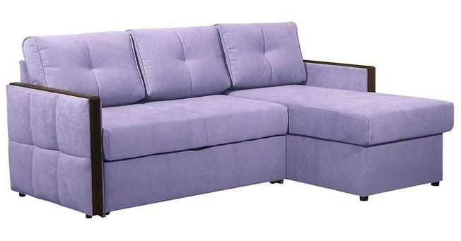 Угловой диван-кровать Сандра, лавандовый велюр фото