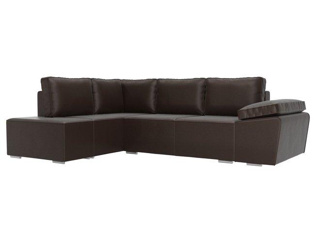 Угловой диван-кровать левый Хавьер, коричневый/экокожа фото