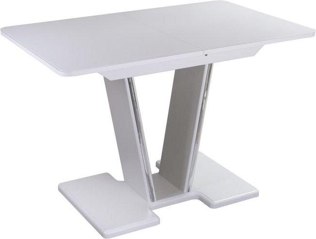 Стол обеденный раздвижной Танго мини ПР-3, белый/белое стекло фото