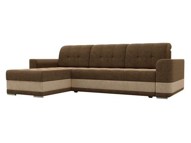 Угловой диван-кровать левый Честер, коричневый/микровельвет фото
