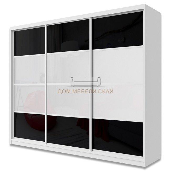 Шкаф-купе Юпитер 3-дверный без зеркала 2600 (глубина 600, высота 2400), белый/белый глянец/черный глянец - купить за 43890 руб. в Москве (арт. B10019938)   Дом мебели Скай