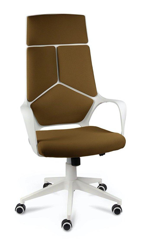 Кресло офисное IQ, white plastic/mustard /белый пластик/горчичная ткань фото