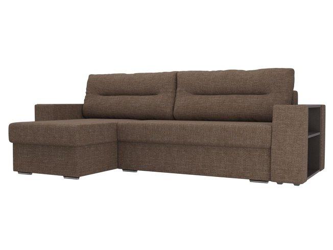 Угловой диван-кровать левый Эридан, коричневый/рогожка фото